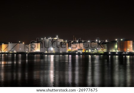 Oil refinery - Chemical industry by night - stock photo