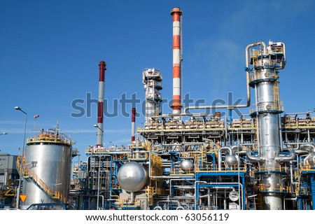 Oil refinery closeup - industrial shot - stock photo