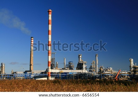 oil refinery construction in day - stock photo