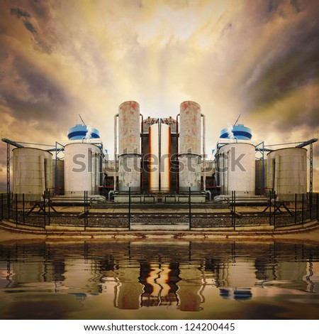 Oil refinery. Ecology disaster concept - water pollution. - stock photo