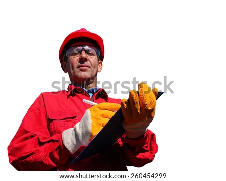 Oil Refinery Engineer Over White Background. Worker wearing red overalls and hardhat , writing on clipboard next to pipelines, isolated on white. - stock photo