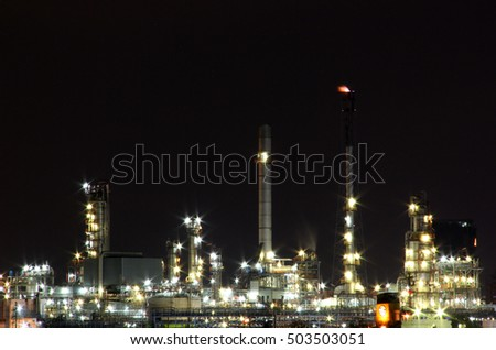 Oil refinery factory area at twilight