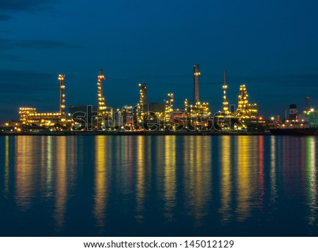 Oil refinery factory at night in  Bangkok Thailand.