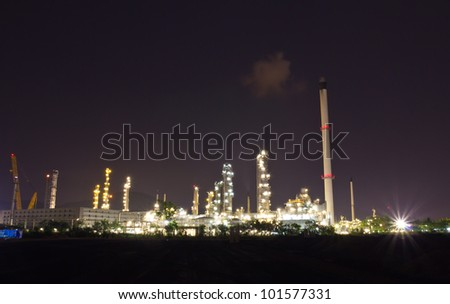 Oil refinery factory at night, Leamchabung, Thailand