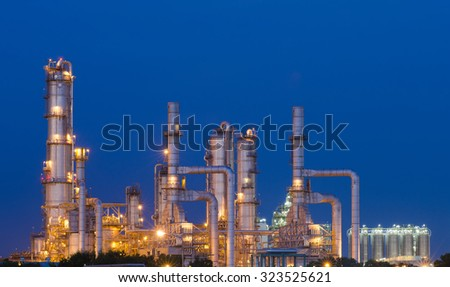 Oil Refinery factory at night , petrochemical plant , Chemical Plant , Petroleum
