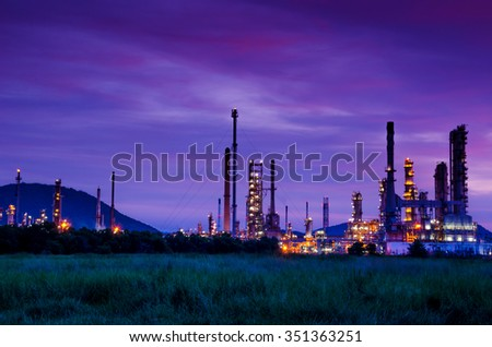 Oil refinery factory at sunrise, Thailand - stock photo