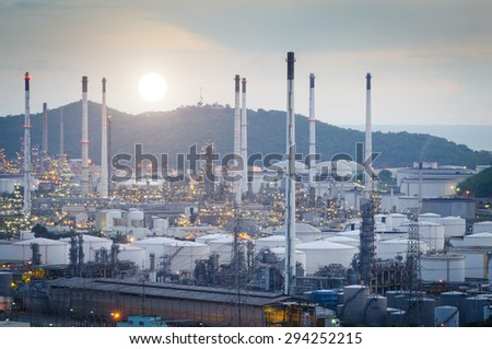 Oil Refinery factory at the evening , petrochemical plant , Petroleum - stock photo