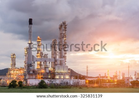 Oil Refinery factory in the morning and Sunrise, Petroleum, petrochemical plant - stock photo