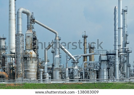 Oil Refinery factory morning - stock photo