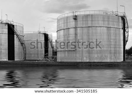 Oil refinery factory plant or chemical and power energy industrial and oil tank.                - stock photo