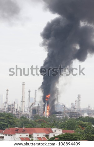 Oil refinery fire in Bangkok, Thailand. - stock photo