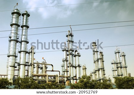 Oil refinery in China - stock photo