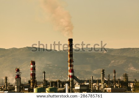 oil refinery in Tarragona Spain Industry and factories backgrounds - stock photo