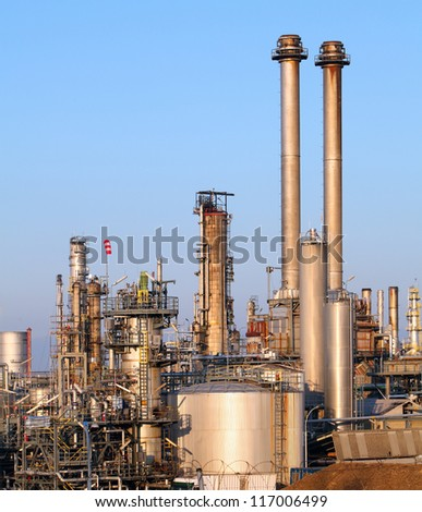 Oil refinery in the day - stock photo