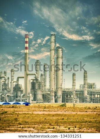 Oil refinery industrial plant - stock photo