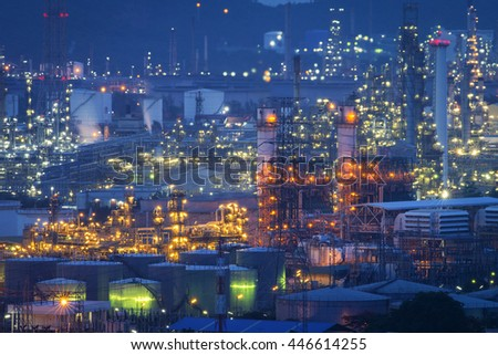 Oil refinery industry at night - Petroleum factory