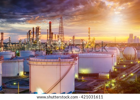 Oil refinery industry  at sunset - factory - petrochemical plant - stock photo