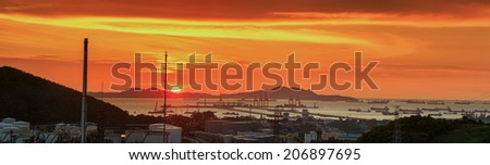 oil refinery industry plant and haber along the morning twilight - stock photo