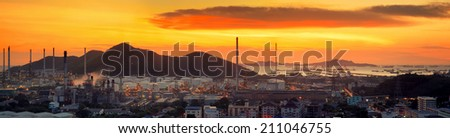 oil refinery industry plant and port along the morning twilight - stock photo
