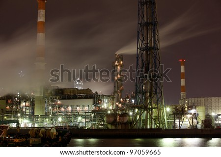 Oil Refinery on night - stock photo
