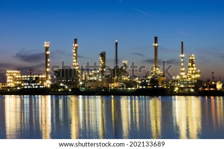 Oil refinery or petrochemical industry in thailand. at Before sunrise