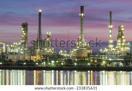 Oil refinery or petrochemical industry in thailand. smokestack - stock photo