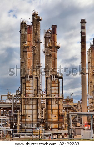 oil refinery petrochemical  chemical industry fuel distillation of petrol petrochemy industrial distillery plant.