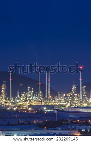 Oil refinery plant area at twilight