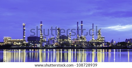 Oil Refinery plant area at twilight morning - stock photo