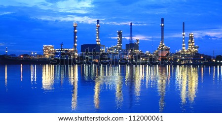 Oil Refinery plant area at twilight panorama