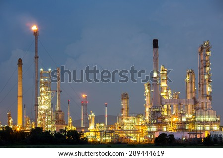 Oil Refinery Plant at dusk - stock photo