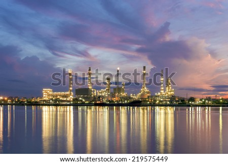 Oil Refinery Plant at twilight in Bangkok Thailand - stock photo
