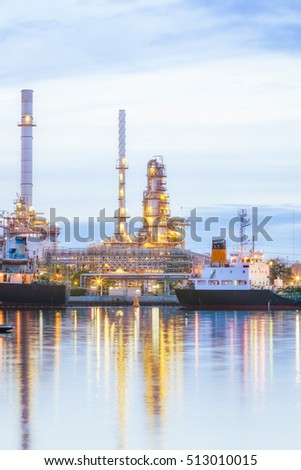 Oil refinery plant at twilight with copy space.