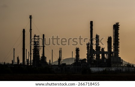 Oil Refinery Plant in evening