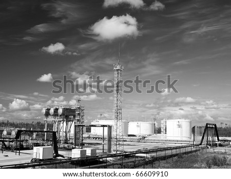 Oil refinery plant. Petrochemical industry. Black and white photo - stock photo