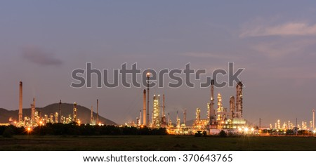 Oil refinery power station at twilight in thailand