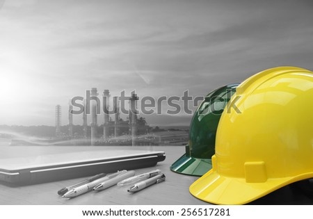 Oil ,Refinery ,Power work Safety helmet two tone. - stock photo