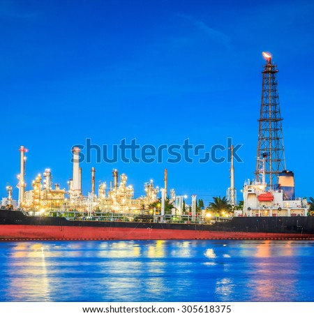 Oil refinery  riverside Chao Phraya River at Bangkok Thailand
