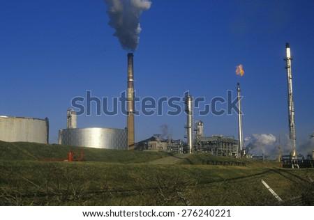 Oil Refinery Smokestacks, DE - stock photo
