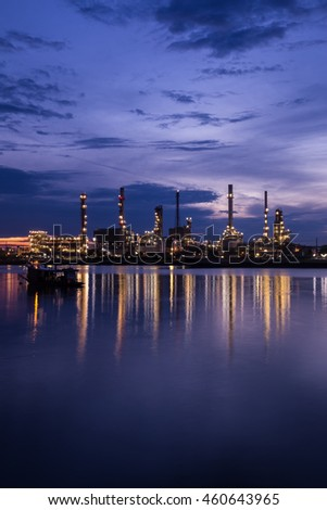 Oil refinery to night.