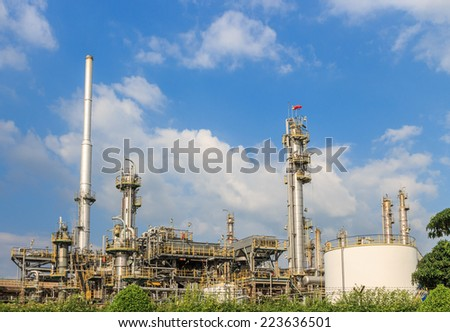 oil refinery tower building industrial - stock photo