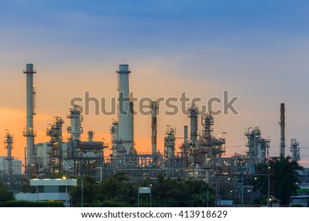 Oil refinery with beautiful sky during sunrise