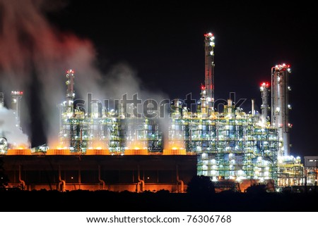 Oil Refinery Working At Night, Eastern Seaboard Thailand - stock photo