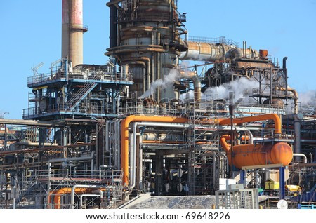Oil refining facility in Lavera southern France - stock photo