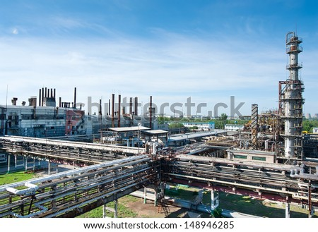 oil refining factory view of from above in a sunny day - stock photo