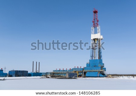 Oil rig and facilities - stock photo
