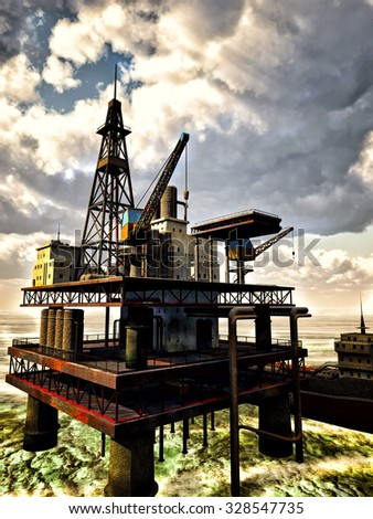 Oil rig at sea during foggy day - stock photo