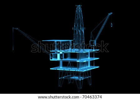 Oil rig (3D xray blue transparent) - stock photo
