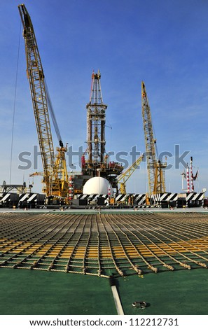 Oil Rig From Helicopter Landing Pad - stock photo