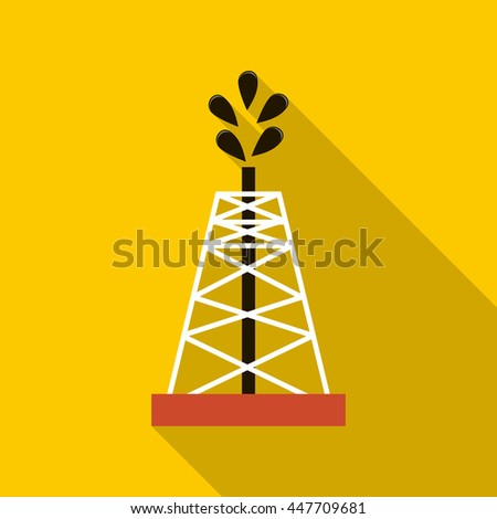 Oil rig icon in flat style with long shadow - stock photo
